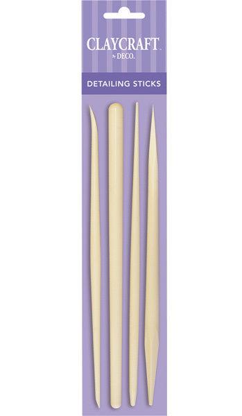 CLAYCRAFT™ by DECO® sīko detaļu steku komplekts (4 dažādi steki)